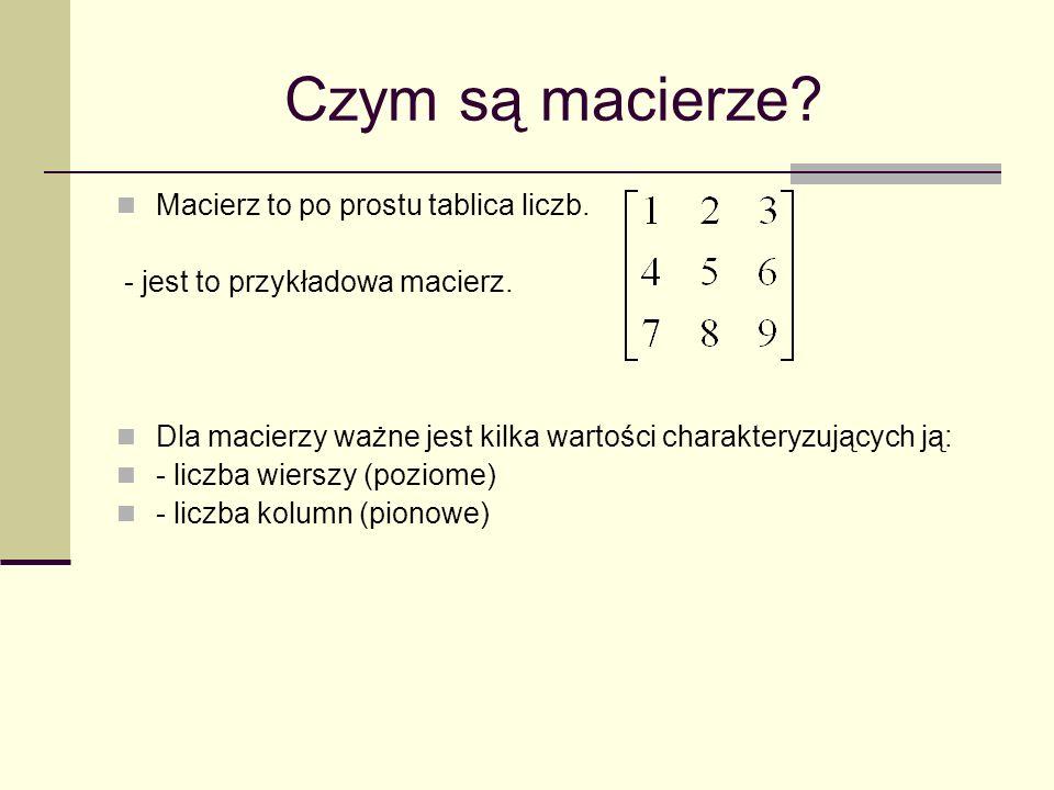 Czym są macierze Macierz to po prostu tablica liczb.