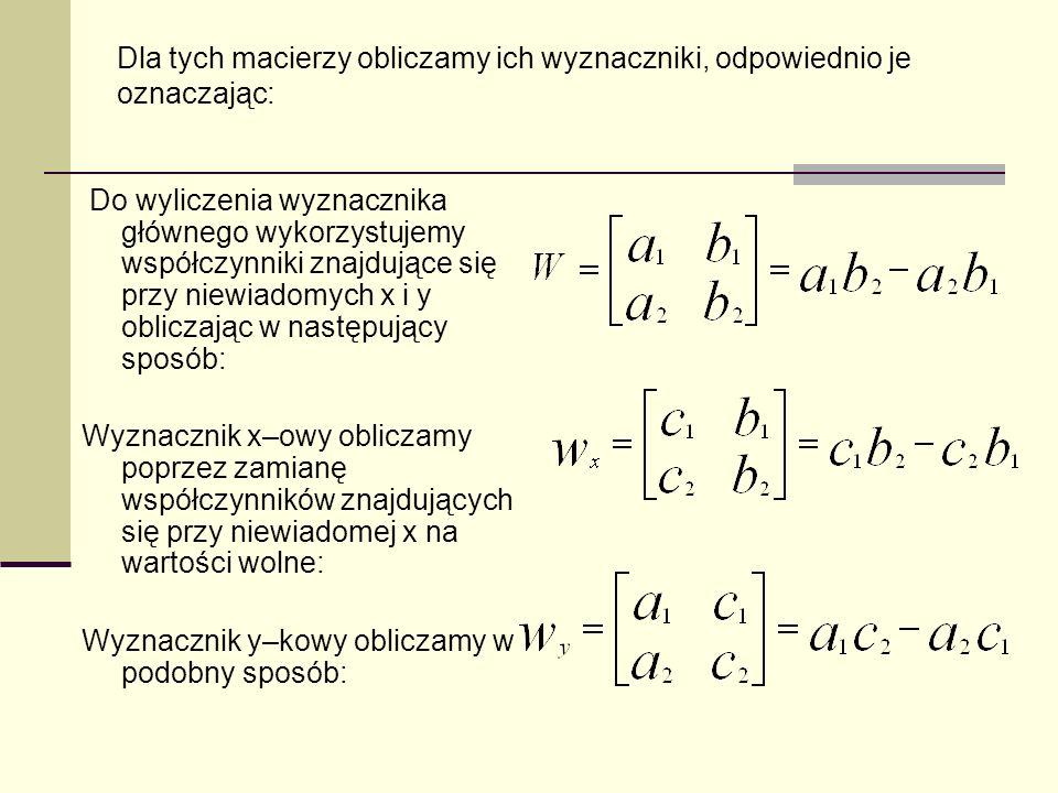 Wyznacznik y–kowy obliczamy w podobny sposób: