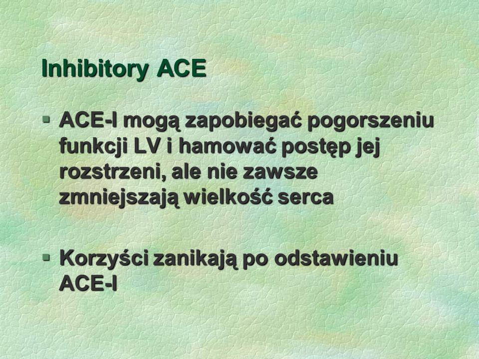 Inhibitory ACE ACE-I mogą zapobiegać pogorszeniu funkcji LV i hamować postęp jej rozstrzeni, ale nie zawsze zmniejszają wielkość serca.