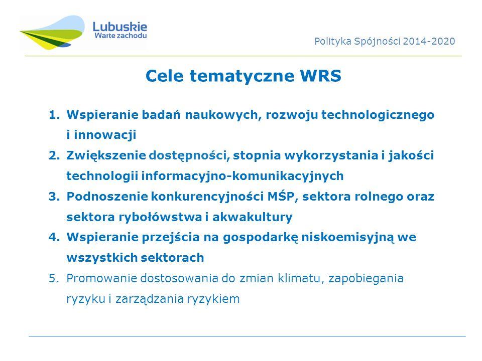 Polityka Spójności 2014-2020 Cele tematyczne WRS. Wspieranie badań naukowych, rozwoju technologicznego i innowacji.