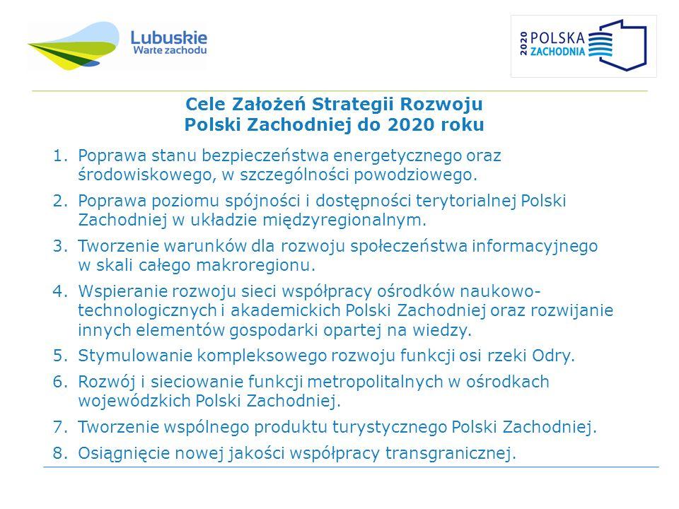 Cele Założeń Strategii Rozwoju Polski Zachodniej do 2020 roku