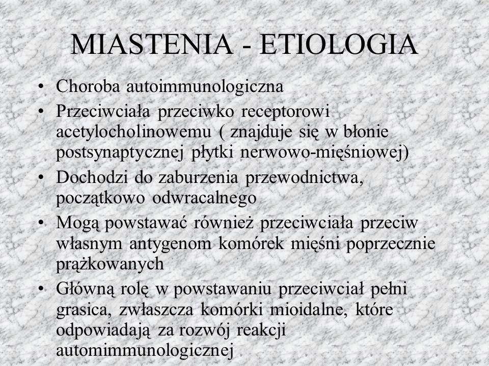 MIASTENIA - ETIOLOGIA Choroba autoimmunologiczna