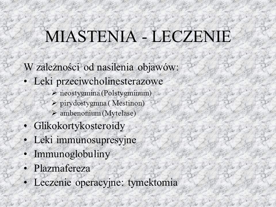 MIASTENIA - LECZENIE W zależności od nasilenia objawów: