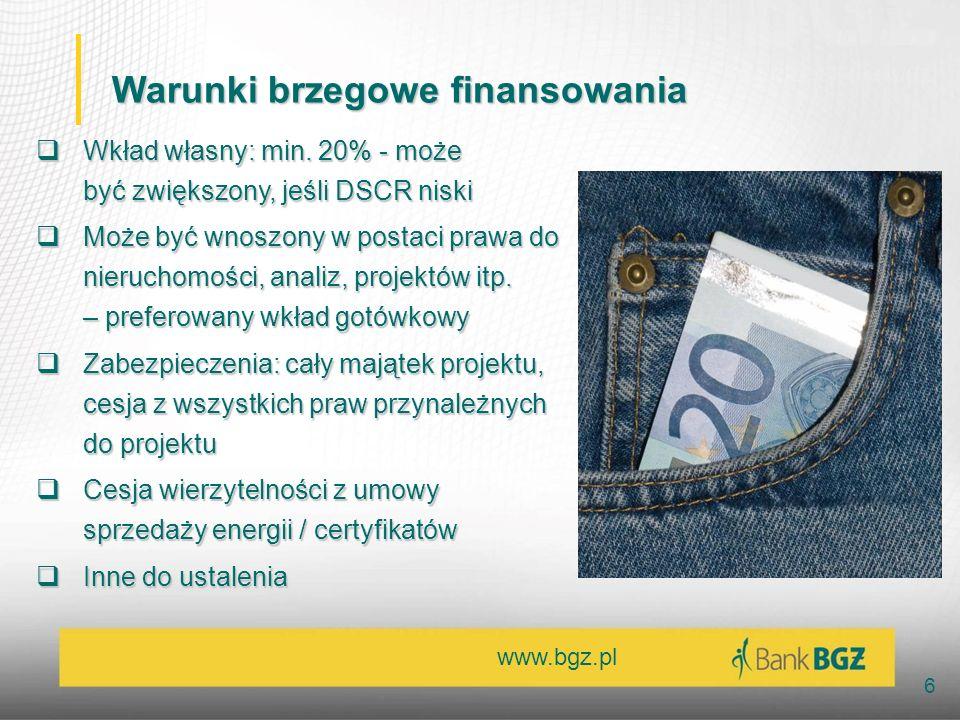 Warunki brzegowe finansowania