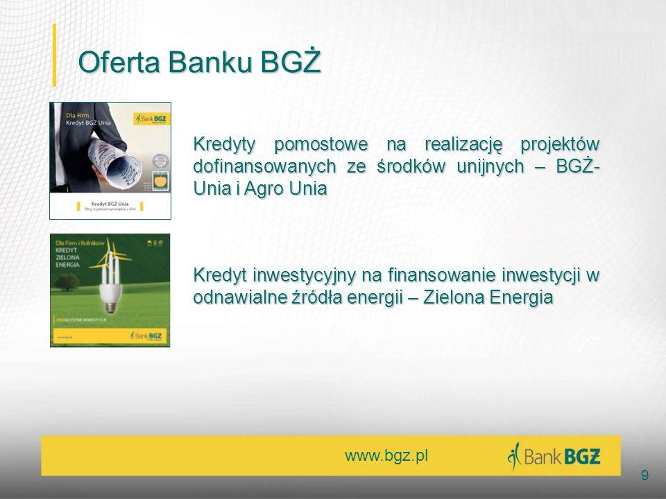 Oferta Banku BGŻ Kredyty pomostowe na realizację projektów dofinansowanych ze środków unijnych – BGŻ-Unia i Agro Unia.