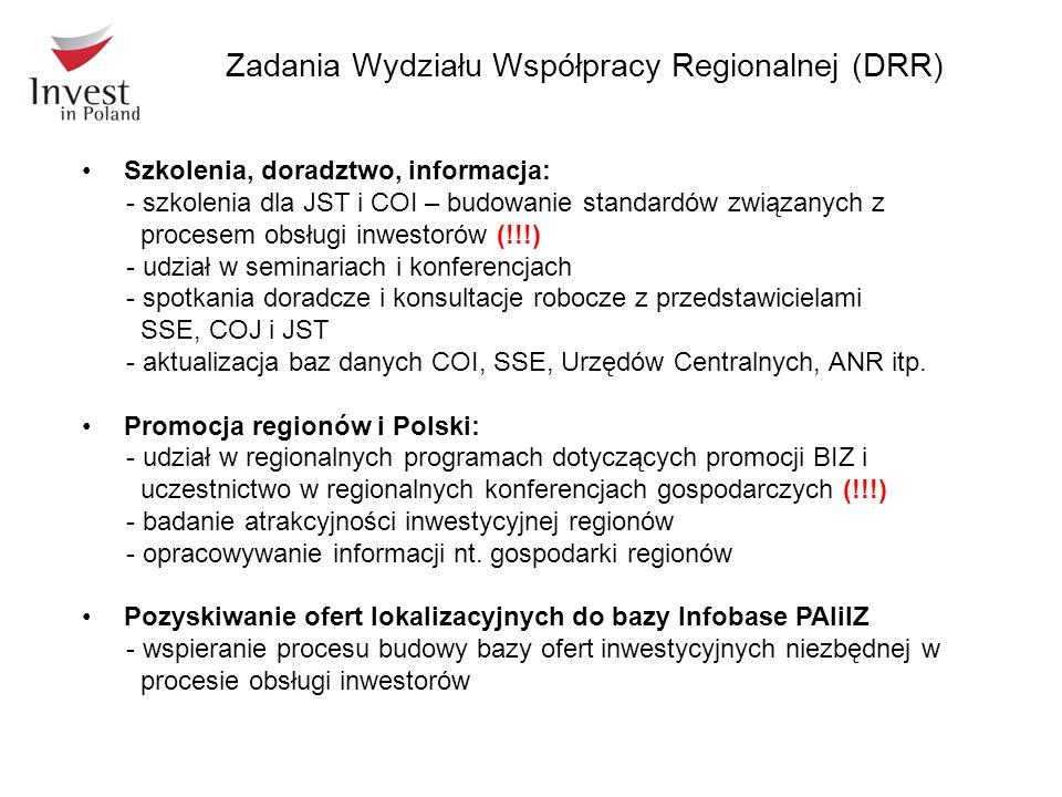 Zadania Wydziału Współpracy Regionalnej (DRR)