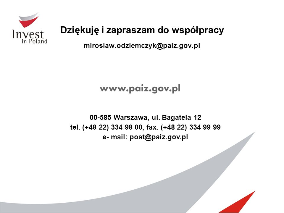 Dziękuję i zapraszam do współpracy miroslaw.odziemczyk@paiz.gov.pl