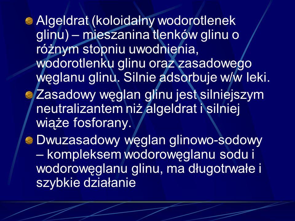 Algeldrat (koloidalny wodorotlenek glinu) – mieszanina tlenków glinu o różnym stopniu uwodnienia, wodorotlenku glinu oraz zasadowego węglanu glinu. Silnie adsorbuje w/w leki.