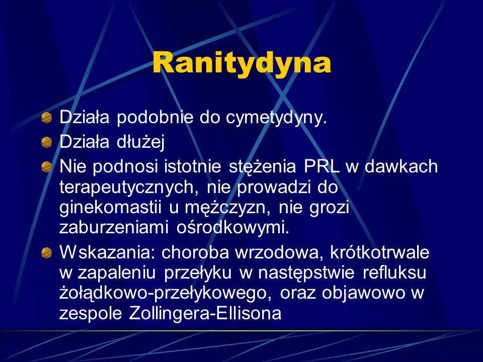 Ranitydyna Działa podobnie do cymetydyny. Działa dłużej
