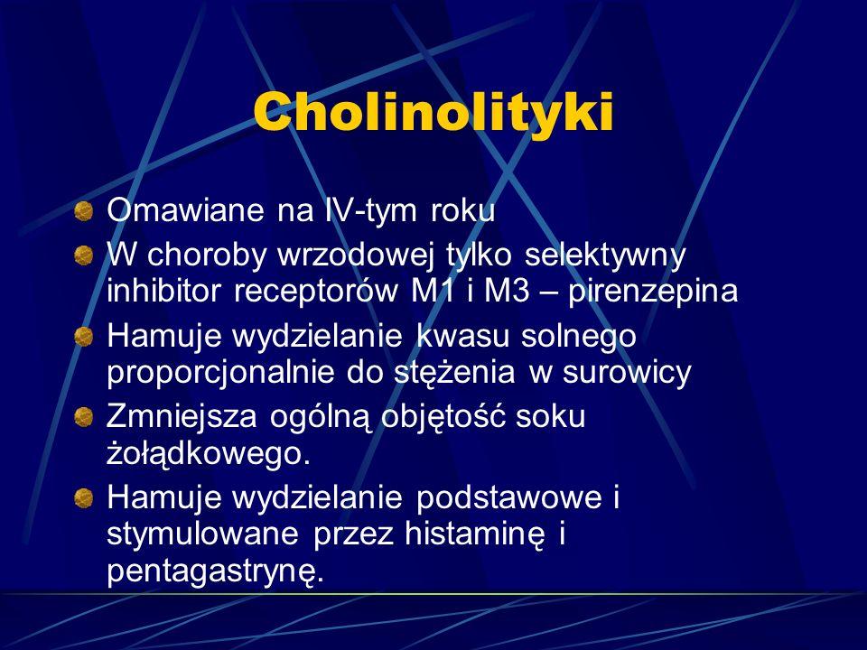 Cholinolityki Omawiane na IV-tym roku