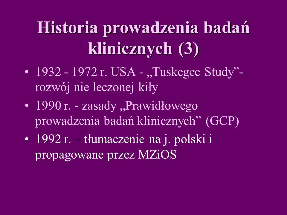 Historia prowadzenia badań klinicznych (3)