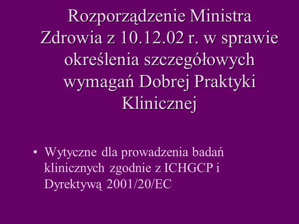 Rozporządzenie Ministra Zdrowia z 10. 12. 02 r