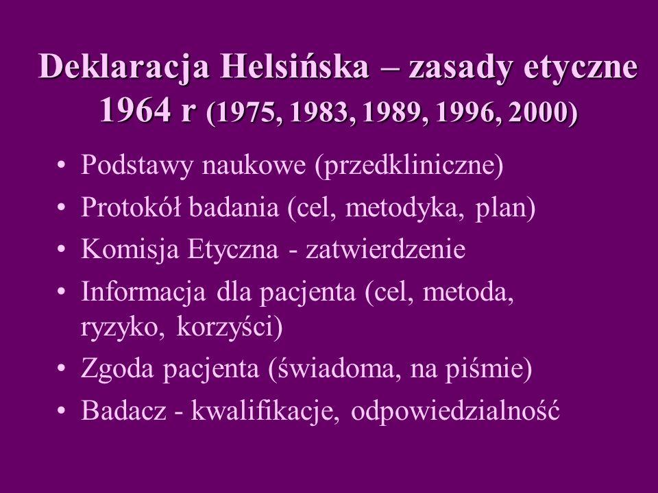 Deklaracja Helsińska – zasady etyczne 1964 r (1975, 1983, 1989, 1996, 2000)