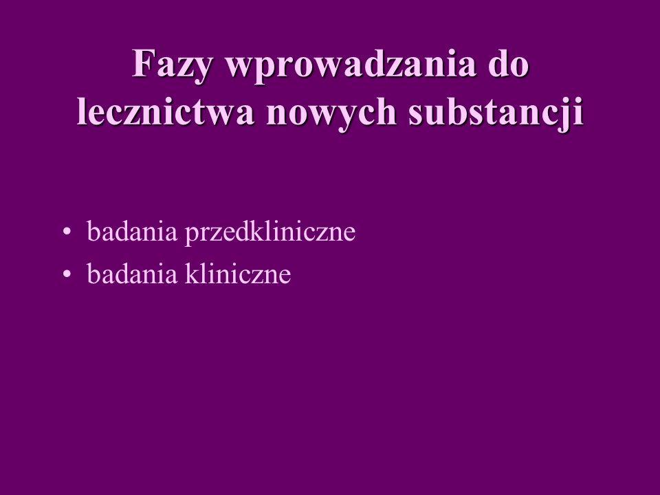 Fazy wprowadzania do lecznictwa nowych substancji