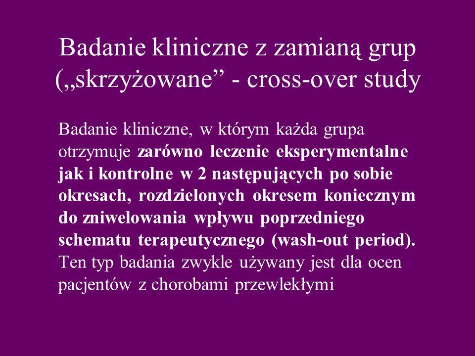 """Badanie kliniczne z zamianą grup (""""skrzyżowane - cross-over study"""