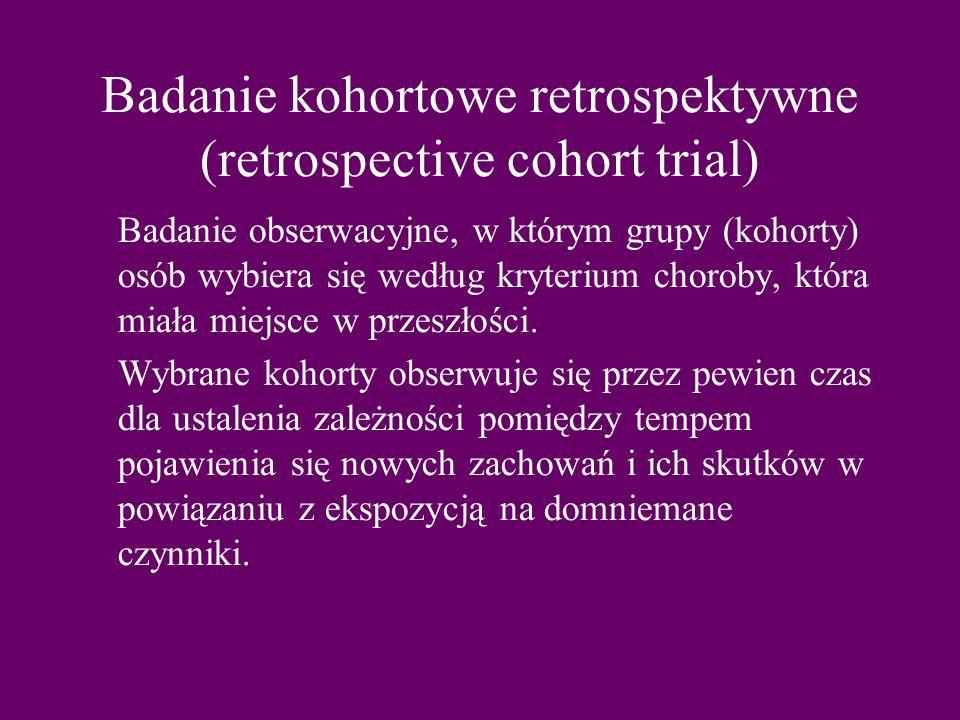 Badanie kohortowe retrospektywne (retrospective cohort trial)