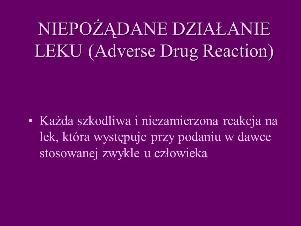NIEPOŻĄDANE DZIAŁANIE LEKU (Adverse Drug Reaction)