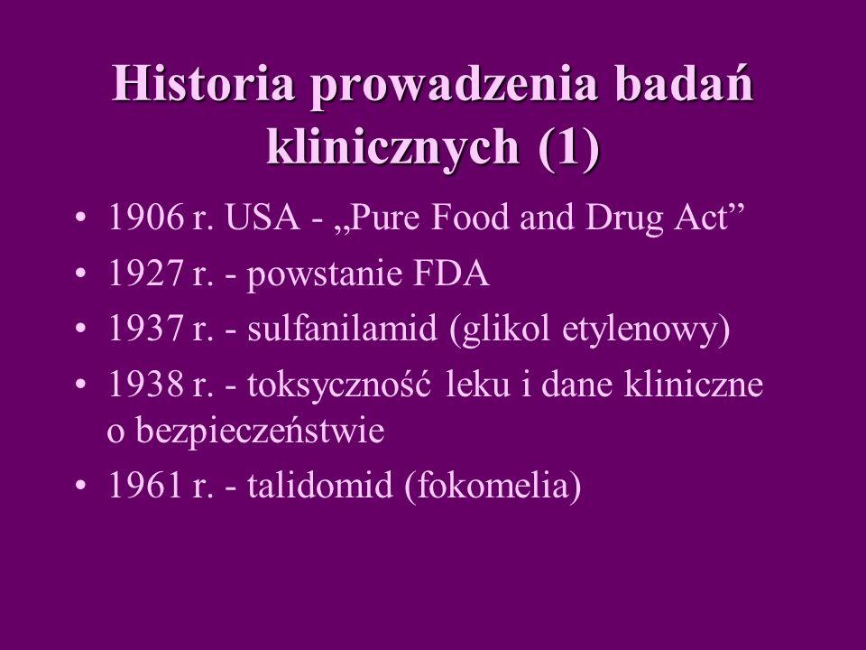 Historia prowadzenia badań klinicznych (1)