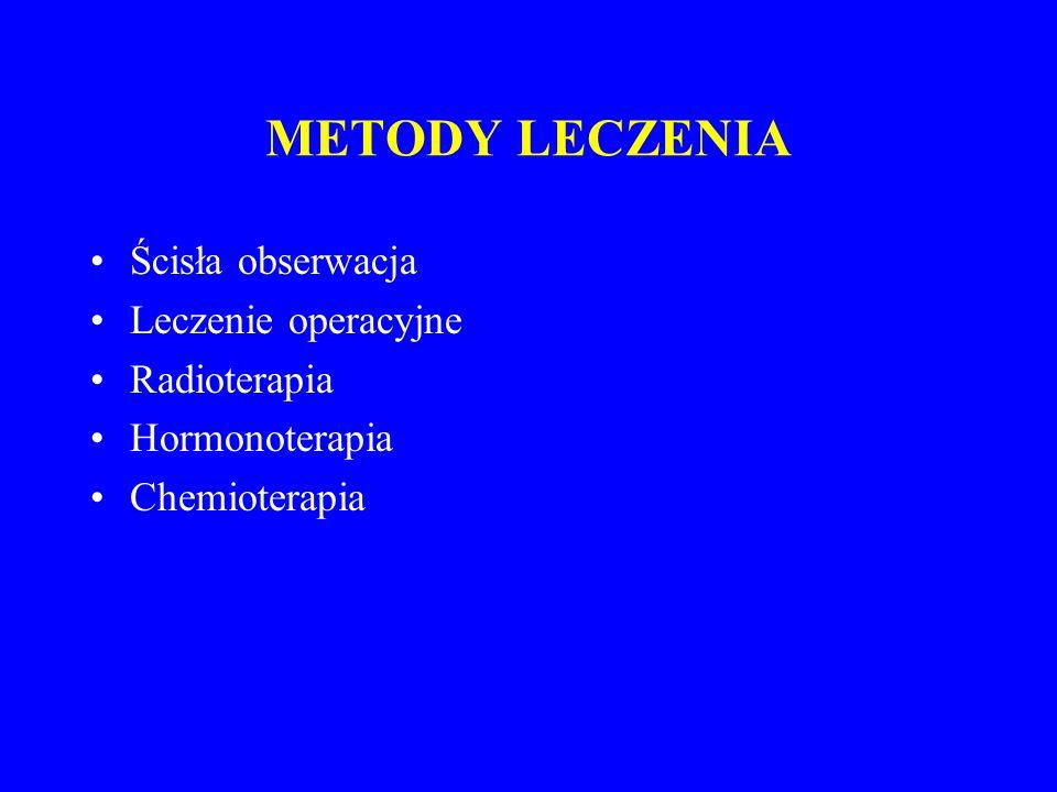 METODY LECZENIA Ścisła obserwacja Leczenie operacyjne Radioterapia