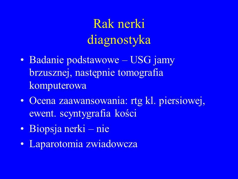 Rak nerki diagnostyka Badanie podstawowe – USG jamy brzusznej, następnie tomografia komputerowa.