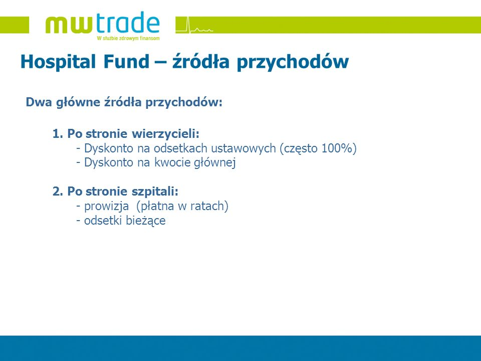 Hospital Fund – źródła przychodów