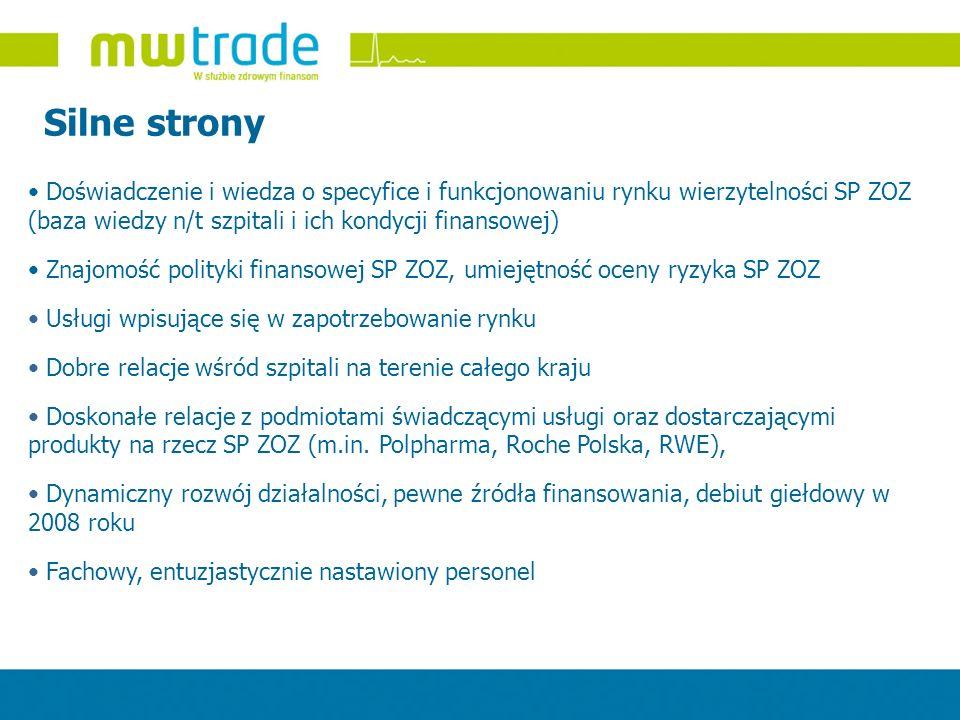Silne strony Doświadczenie i wiedza o specyfice i funkcjonowaniu rynku wierzytelności SP ZOZ (baza wiedzy n/t szpitali i ich kondycji finansowej)