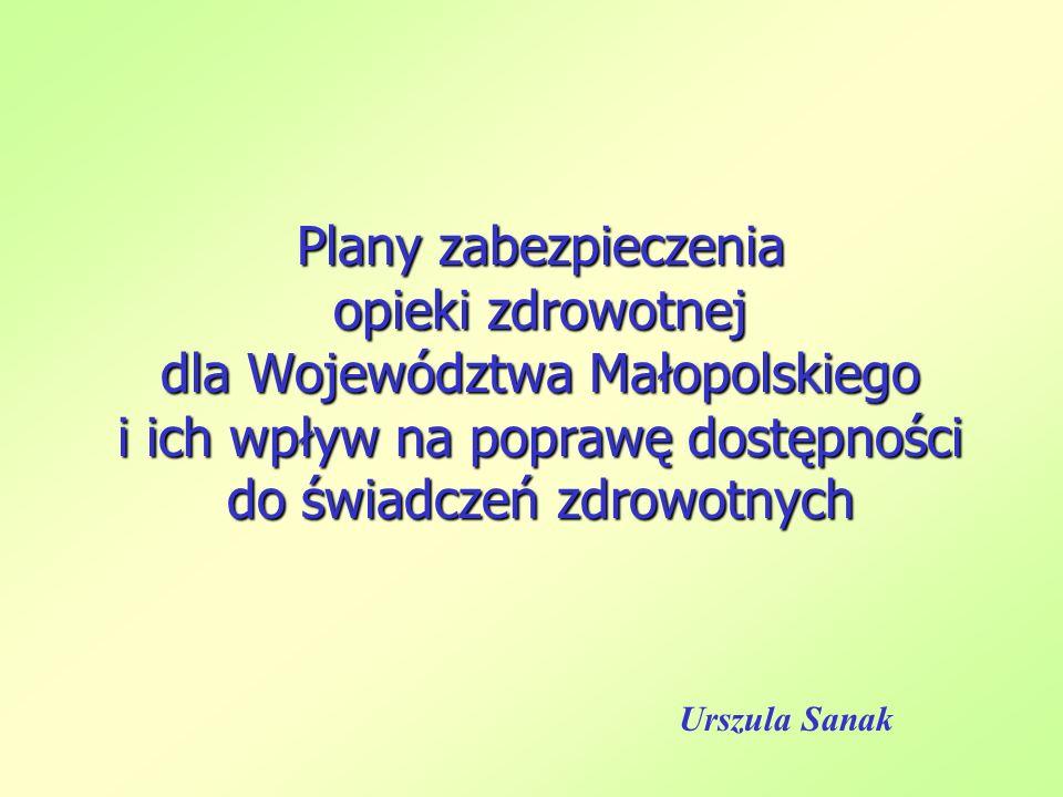 Plany zabezpieczenia opieki zdrowotnej dla Województwa Małopolskiego i ich wpływ na poprawę dostępności do świadczeń zdrowotnych