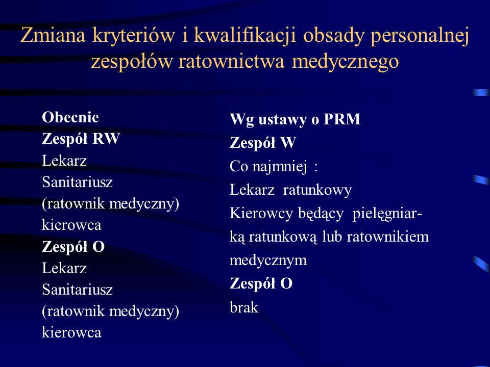 Zmiana kryteriów i kwalifikacji obsady personalnej zespołów ratownictwa medycznego