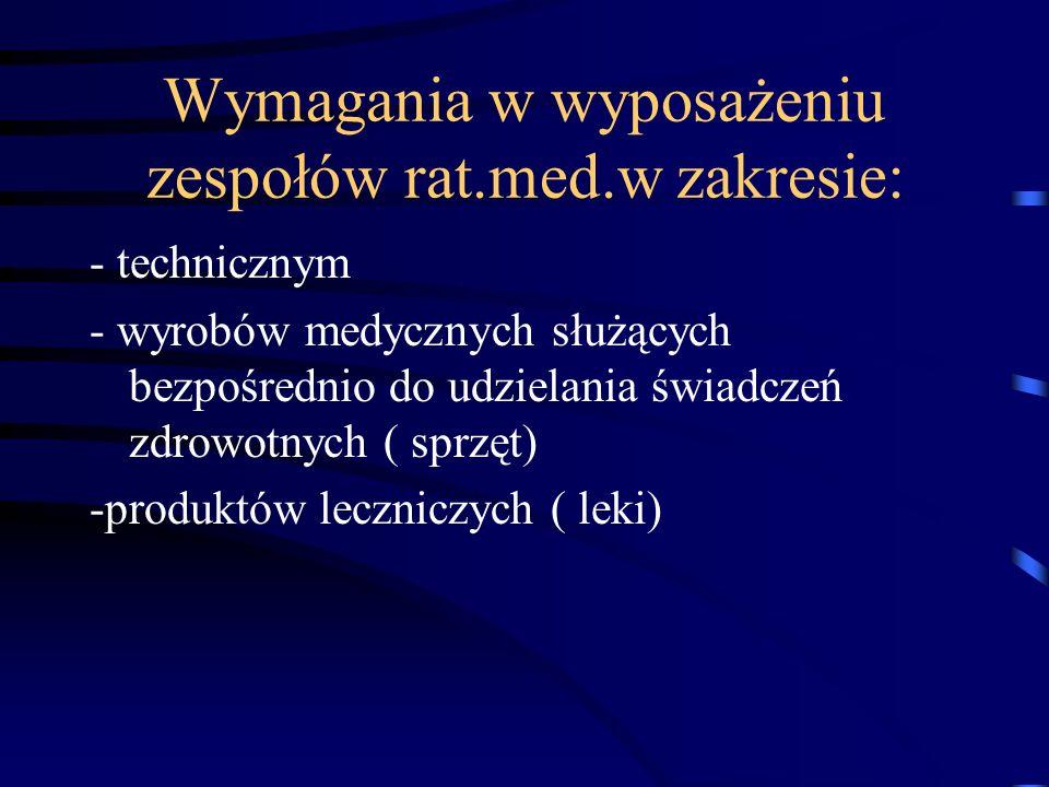 Wymagania w wyposażeniu zespołów rat.med.w zakresie: