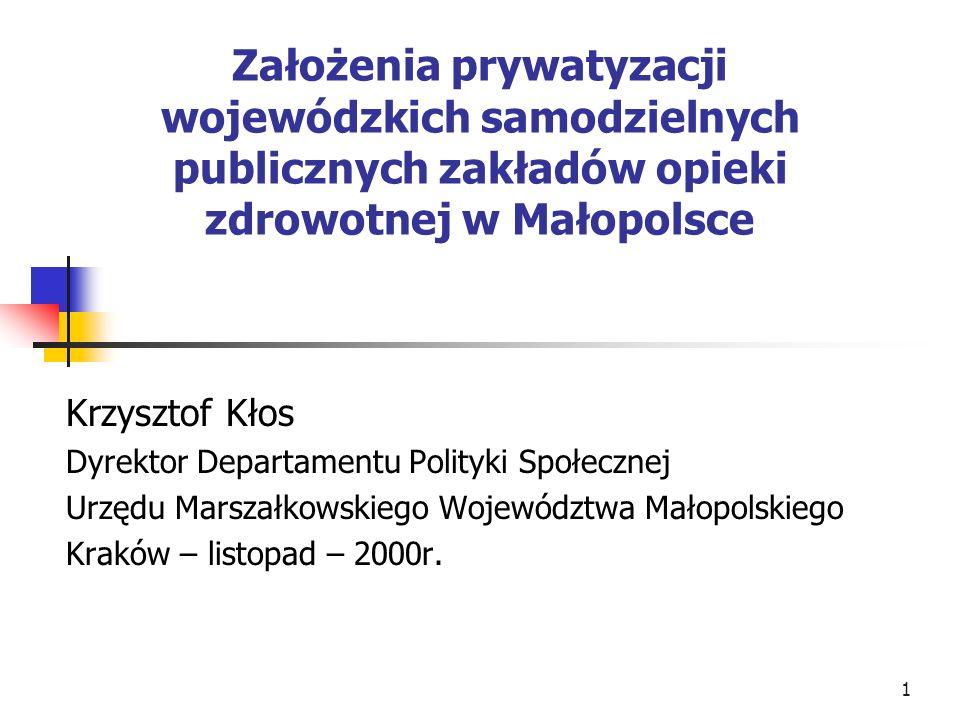 Założenia prywatyzacji wojewódzkich samodzielnych publicznych zakładów opieki zdrowotnej w Małopolsce