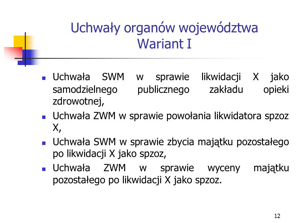 Uchwały organów województwa Wariant I