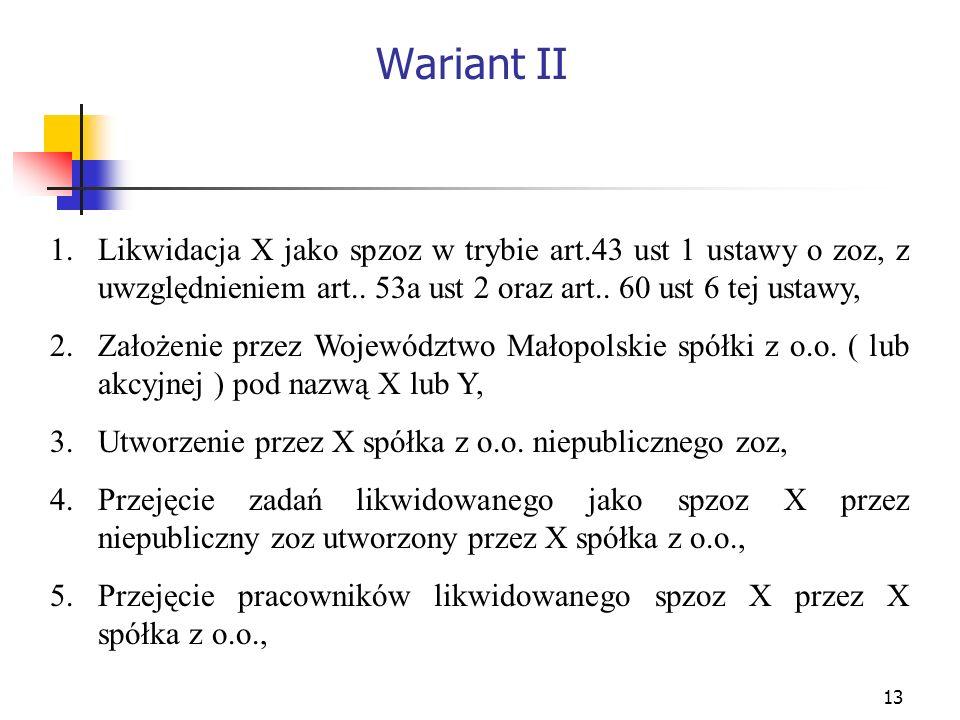 Wariant II Likwidacja X jako spzoz w trybie art.43 ust 1 ustawy o zoz, z uwzględnieniem art.. 53a ust 2 oraz art.. 60 ust 6 tej ustawy,