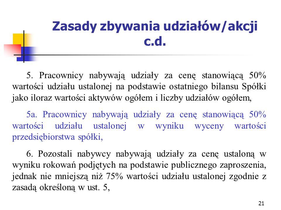 Zasady zbywania udziałów/akcji c.d.