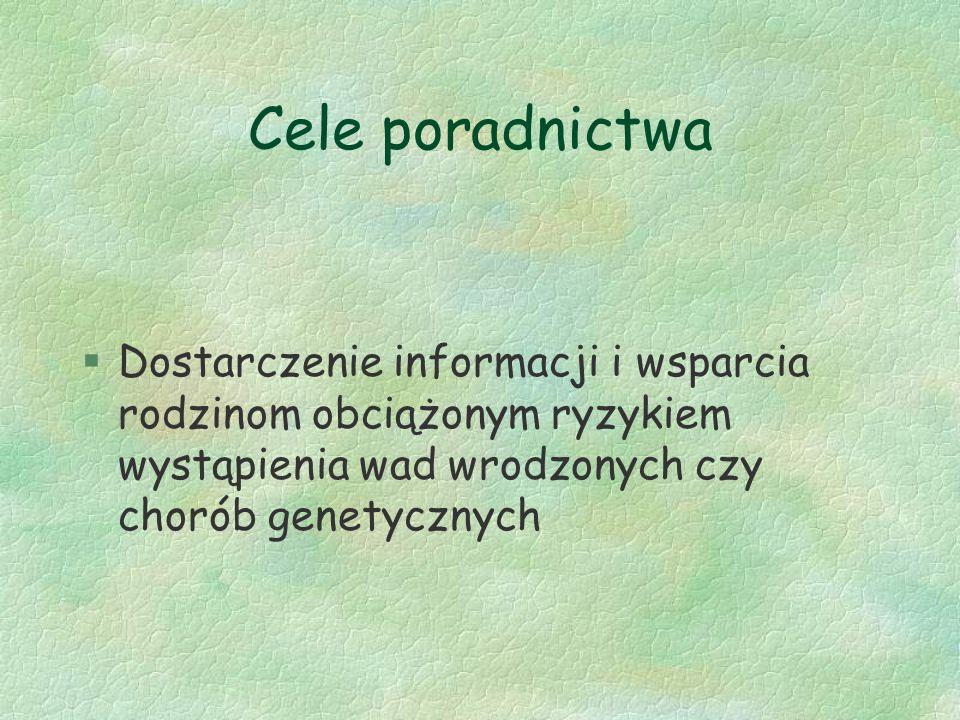 Cele poradnictwa Dostarczenie informacji i wsparcia rodzinom obciążonym ryzykiem wystąpienia wad wrodzonych czy chorób genetycznych.