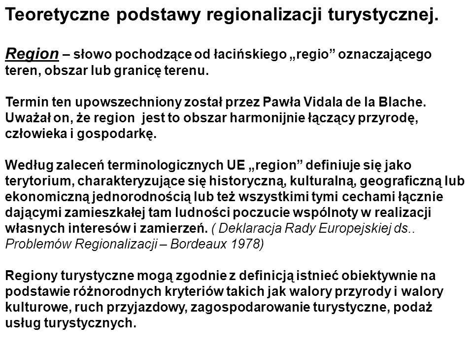 Teoretyczne podstawy regionalizacji turystycznej.
