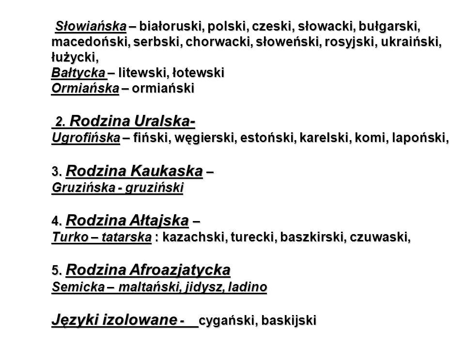 Języki izolowane - cygański, baskijski