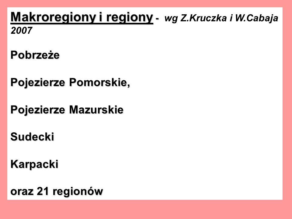 Makroregiony i regiony - wg Z.Kruczka i W.Cabaja 2007