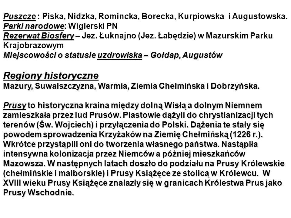 Puszcze : Piska, Nidzka, Romincka, Borecka, Kurpiowska i Augustowska