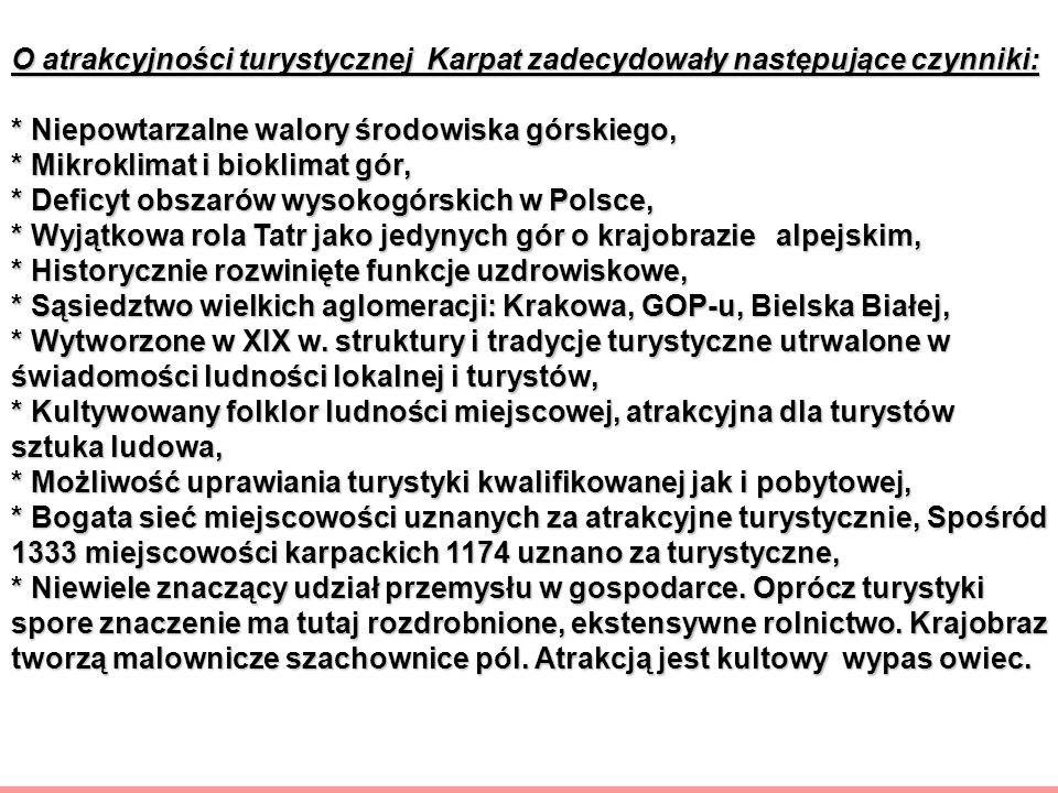 O atrakcyjności turystycznej Karpat zadecydowały następujące czynniki: