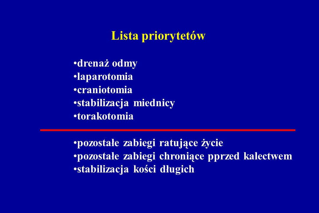 Lista priorytetów drenaż odmy laparotomia craniotomia