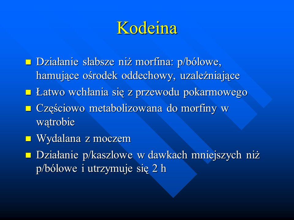 Kodeina Działanie słabsze niż morfina: p/bólowe, hamujące ośrodek oddechowy, uzależniające. Łatwo wchłania się z przewodu pokarmowego.