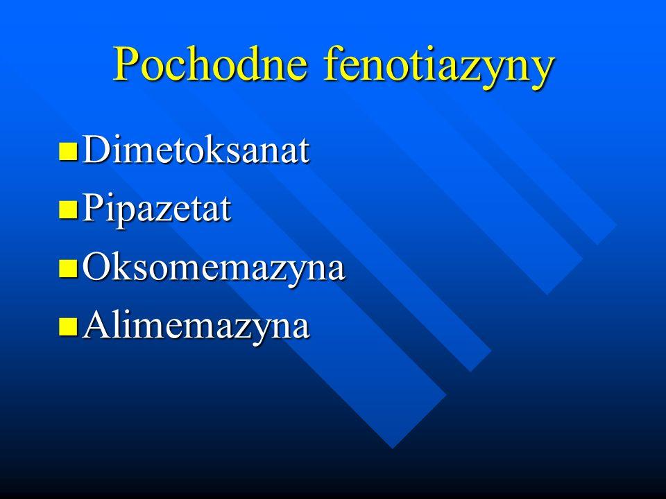 Pochodne fenotiazyny Dimetoksanat Pipazetat Oksomemazyna Alimemazyna