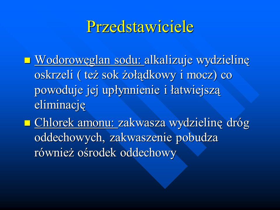 Przedstawiciele Wodorowęglan sodu: alkalizuje wydzielinę oskrzeli ( też sok żołądkowy i mocz) co powoduje jej upłynnienie i łatwiejszą eliminację.
