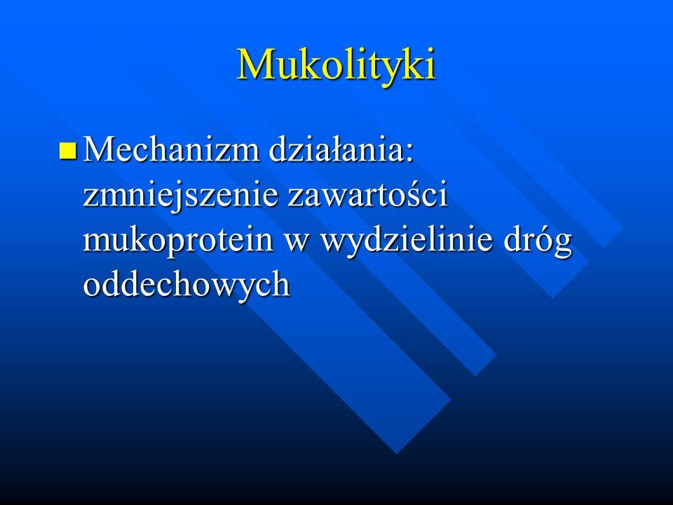 Mukolityki Mechanizm działania: zmniejszenie zawartości mukoprotein w wydzielinie dróg oddechowych