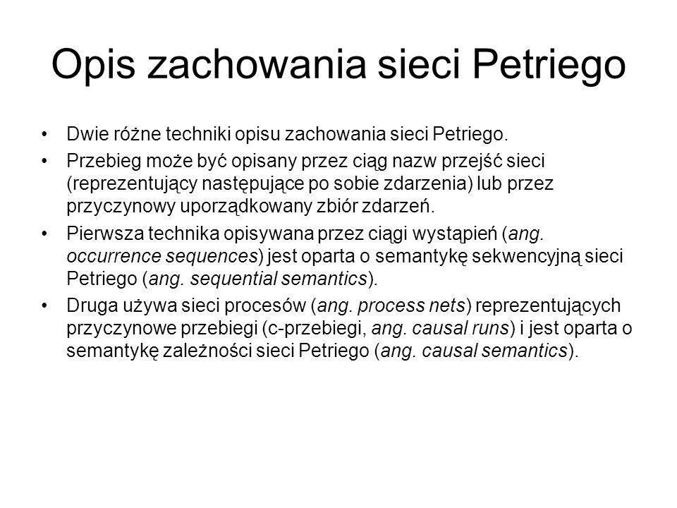 Opis zachowania sieci Petriego