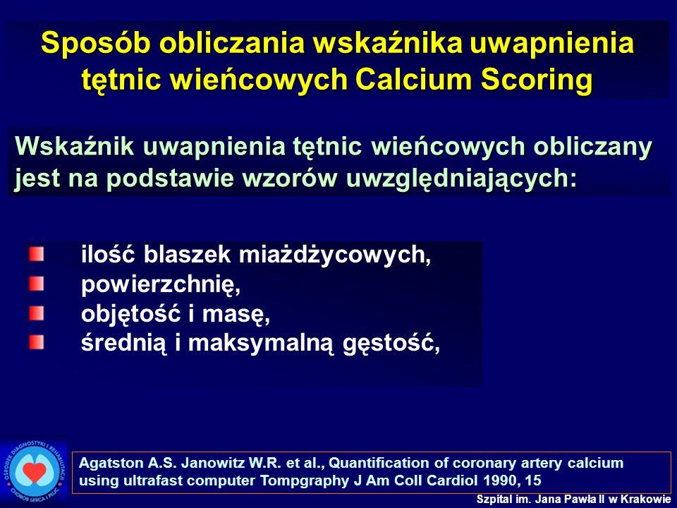 Sposób obliczania wskaźnika uwapnienia tętnic wieńcowych Calcium Scoring