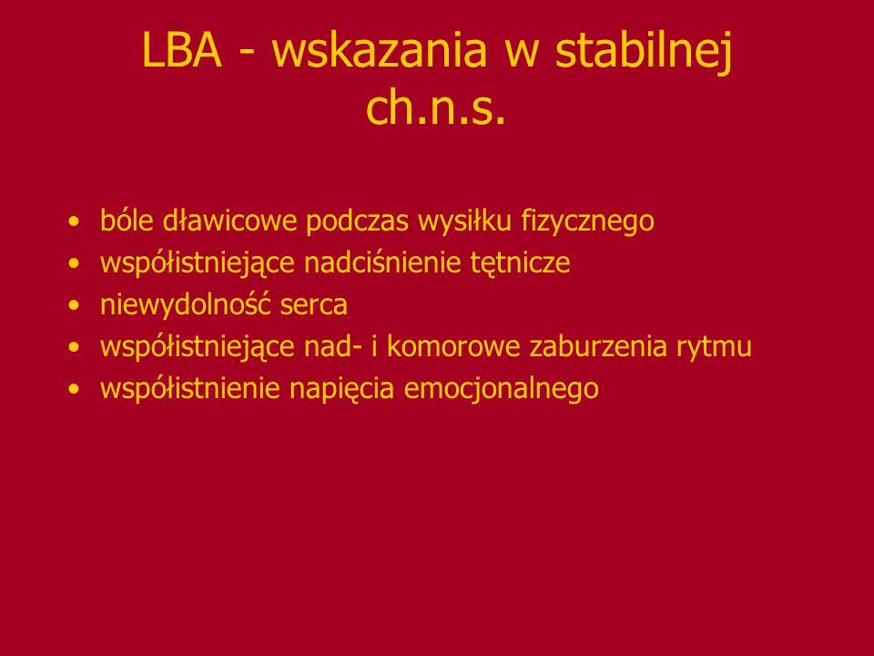 LBA - wskazania w stabilnej ch.n.s.