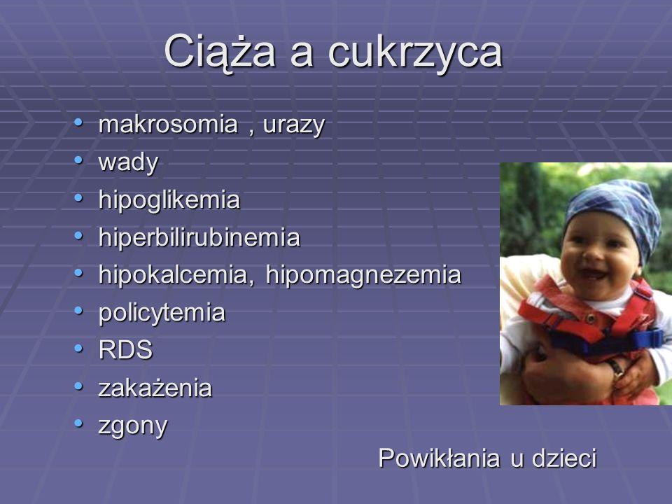 Ciąża a cukrzyca makrosomia , urazy wady hipoglikemia