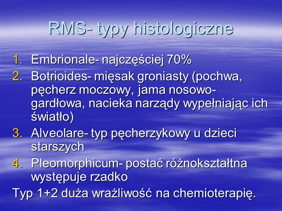 RMS- typy histologiczne