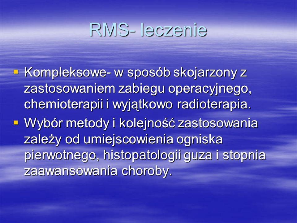RMS- leczenie Kompleksowe- w sposób skojarzony z zastosowaniem zabiegu operacyjnego, chemioterapii i wyjątkowo radioterapia.
